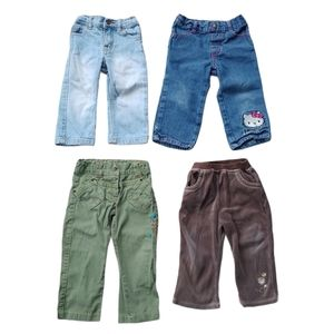 Lot of 4 Girl's Pants, 18-24m